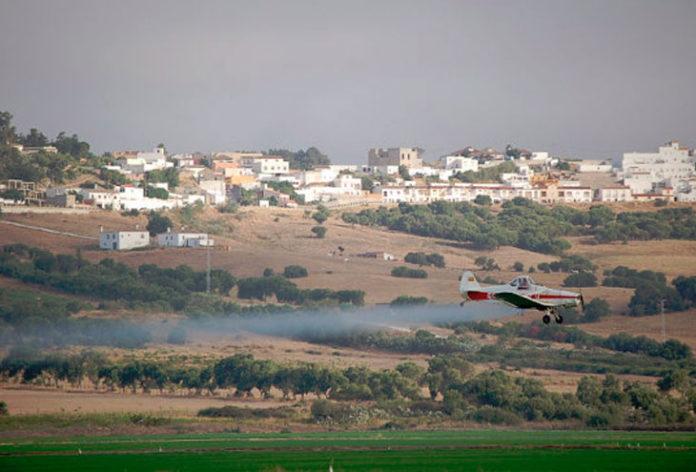 Avioneta fumigando cerca de Benalup